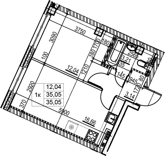 2-комнатная 35 м<sup>2</sup> на 4 этаже