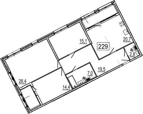 4-комнатная 116 м<sup>2</sup> на 2 этаже