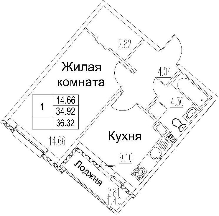 1-комнатная 37 м<sup>2</sup> на 11 этаже