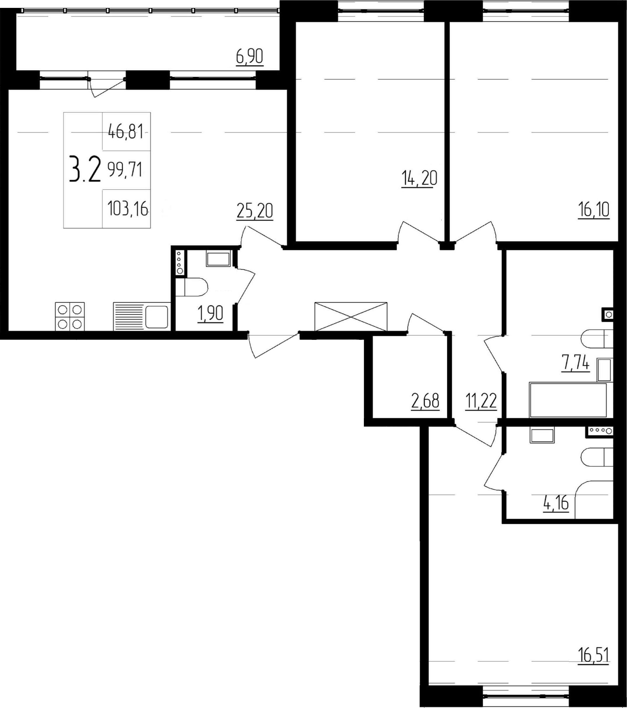 4-к.кв (евро), 106.61 м²