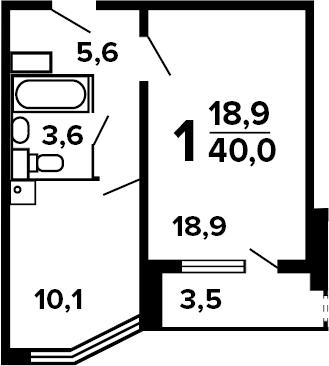 1-к.кв, 41.75 м²