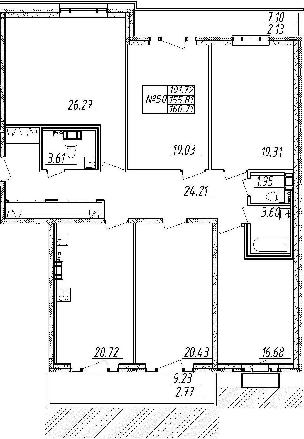 4-комнатная 172 м<sup>2</sup> на 10 этаже