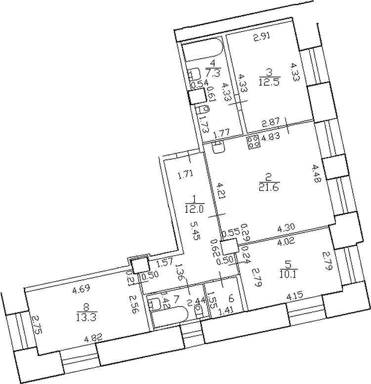 4-комнатная 82 м<sup>2</sup> на 2 этаже