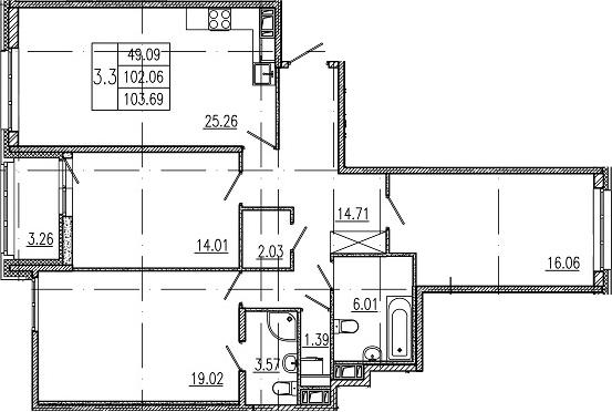 4-комнатная 105 м<sup>2</sup> на 10 этаже