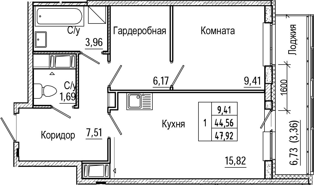 2-комнатная 51 м<sup>2</sup> на 10 этаже