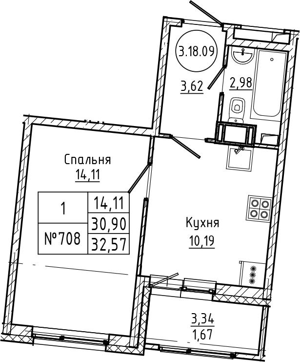 1-комнатная 34 м<sup>2</sup> на 18 этаже