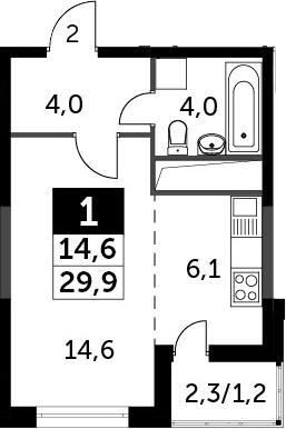 Студия, 31.1 м²