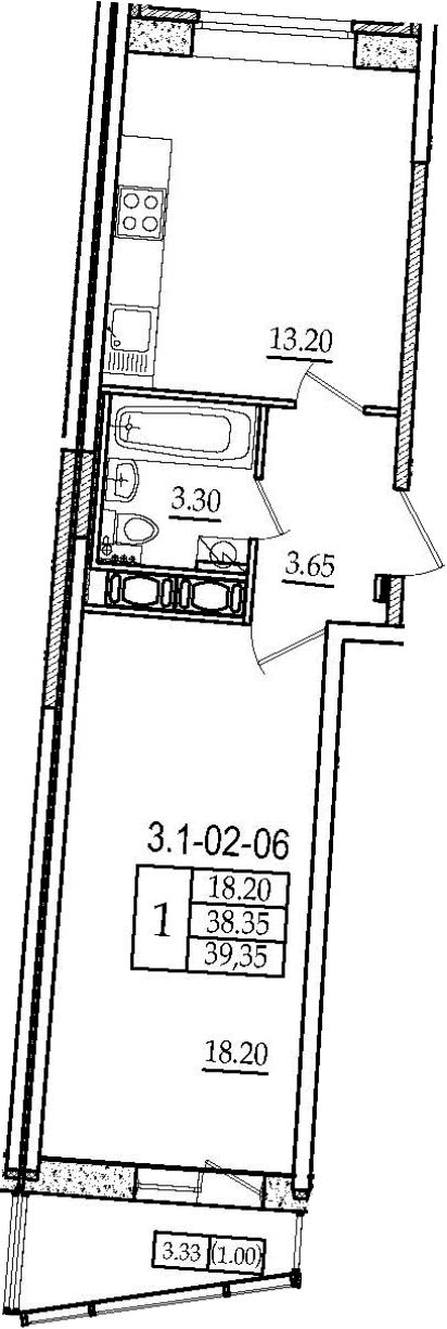 1-комнатная 41 м<sup>2</sup> на 2 этаже