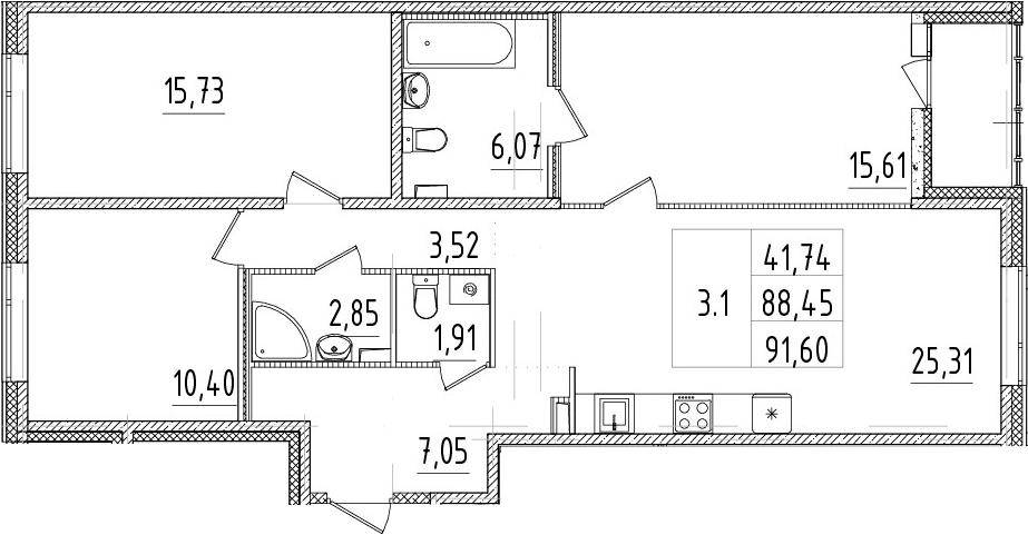 4-комнатная 91 м<sup>2</sup> на 1 этаже