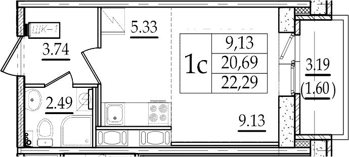 Студия 23 м<sup>2</sup> на 15 этаже