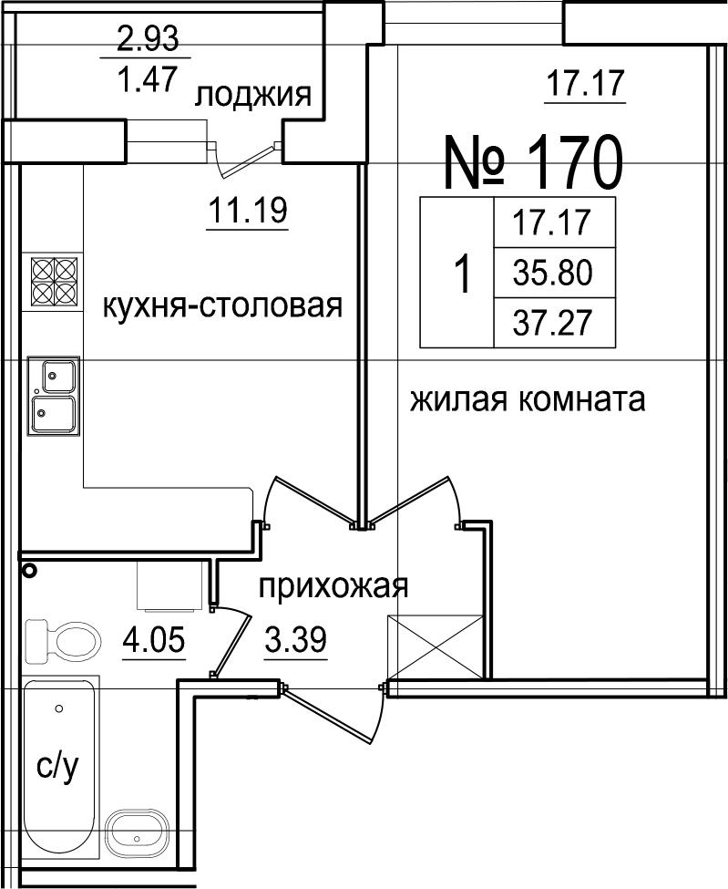 1-комнатная 38 м<sup>2</sup> на 1 этаже