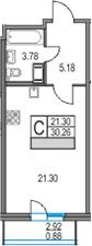 Студия 33 м<sup>2</sup> на 22 этаже