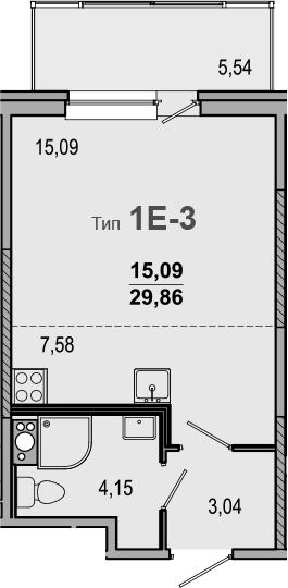 Студия 35 м<sup>2</sup> на 7 этаже
