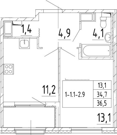 1-комнатная 38 м<sup>2</sup> на 3 этаже