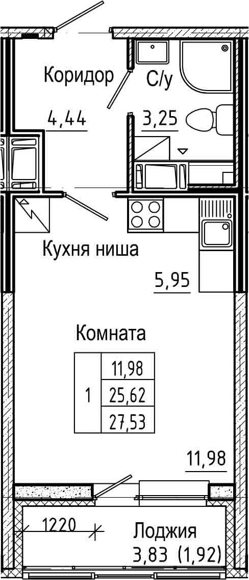 Студия 29 м<sup>2</sup> на 6 этаже