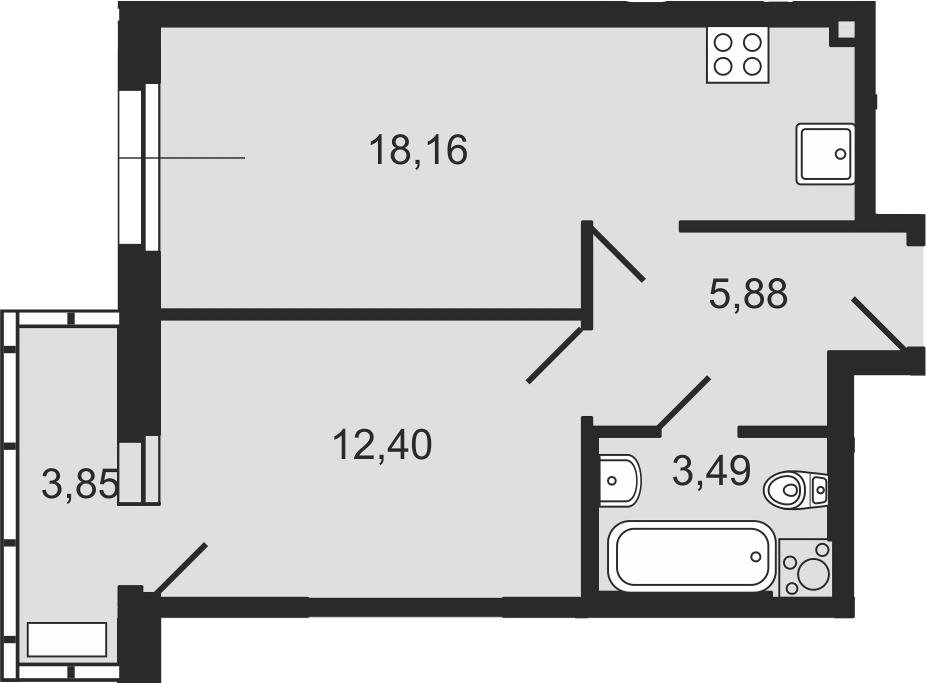 2-комнатная 43 м<sup>2</sup> на 11 этаже