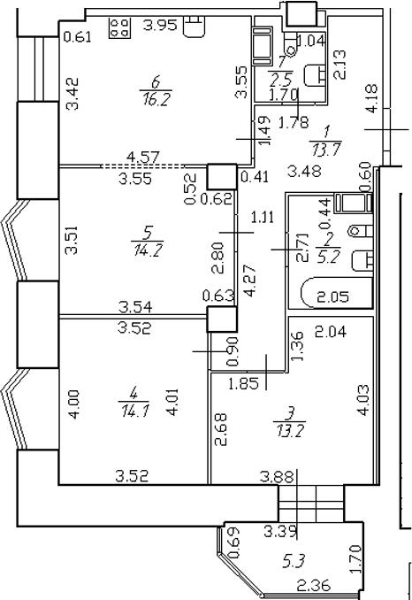 4-комнатная 84 м<sup>2</sup> на 3 этаже