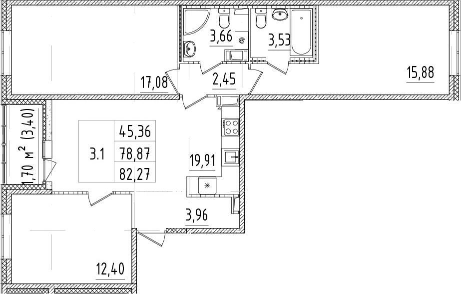 4-комнатная 82 м<sup>2</sup> на 10 этаже