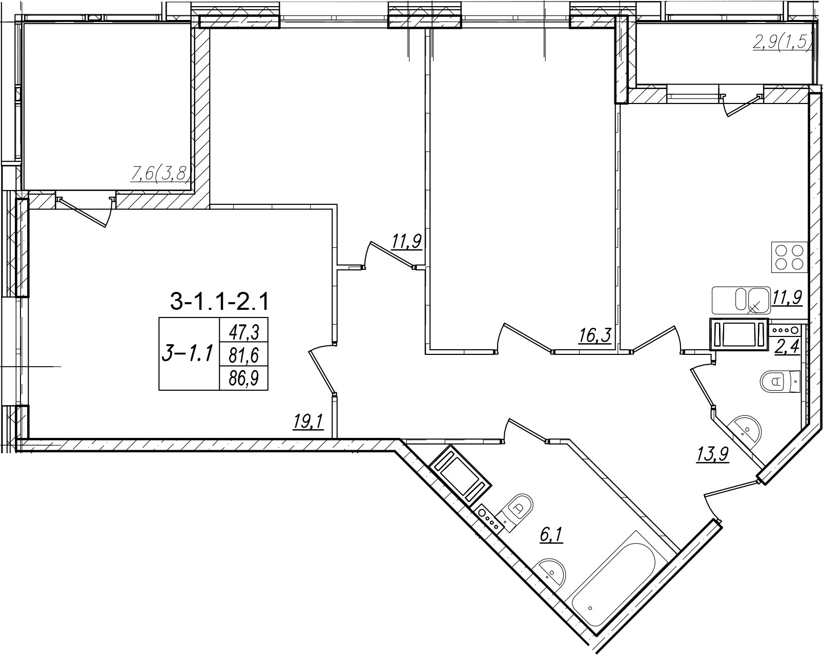 3-к.кв, 92.2 м²
