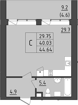Студия 58 м<sup>2</sup> на 6 этаже