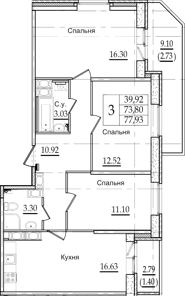 4-комнатная 85 м<sup>2</sup> на 22 этаже