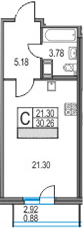 Студия 33 м<sup>2</sup> на 25 этаже