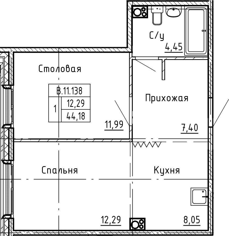 1-комнатная 44 м<sup>2</sup> на 11 этаже