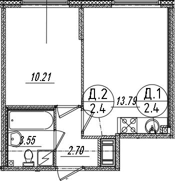 2-комнатная 30 м<sup>2</sup> на 4 этаже
