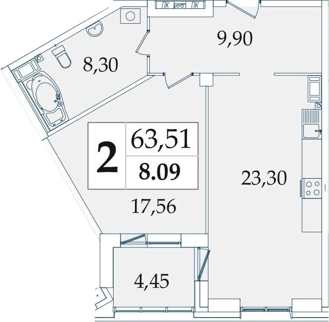 2-комнатная 63 м<sup>2</sup> на 8 этаже