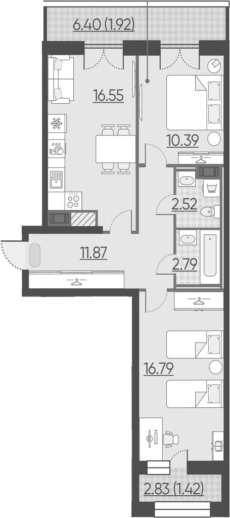 3-комнатная 70 м<sup>2</sup> на 10 этаже