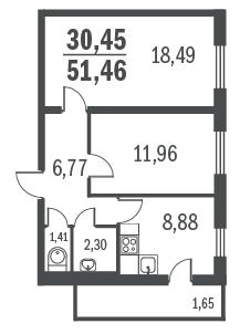 2-к.кв, 54.25 м²