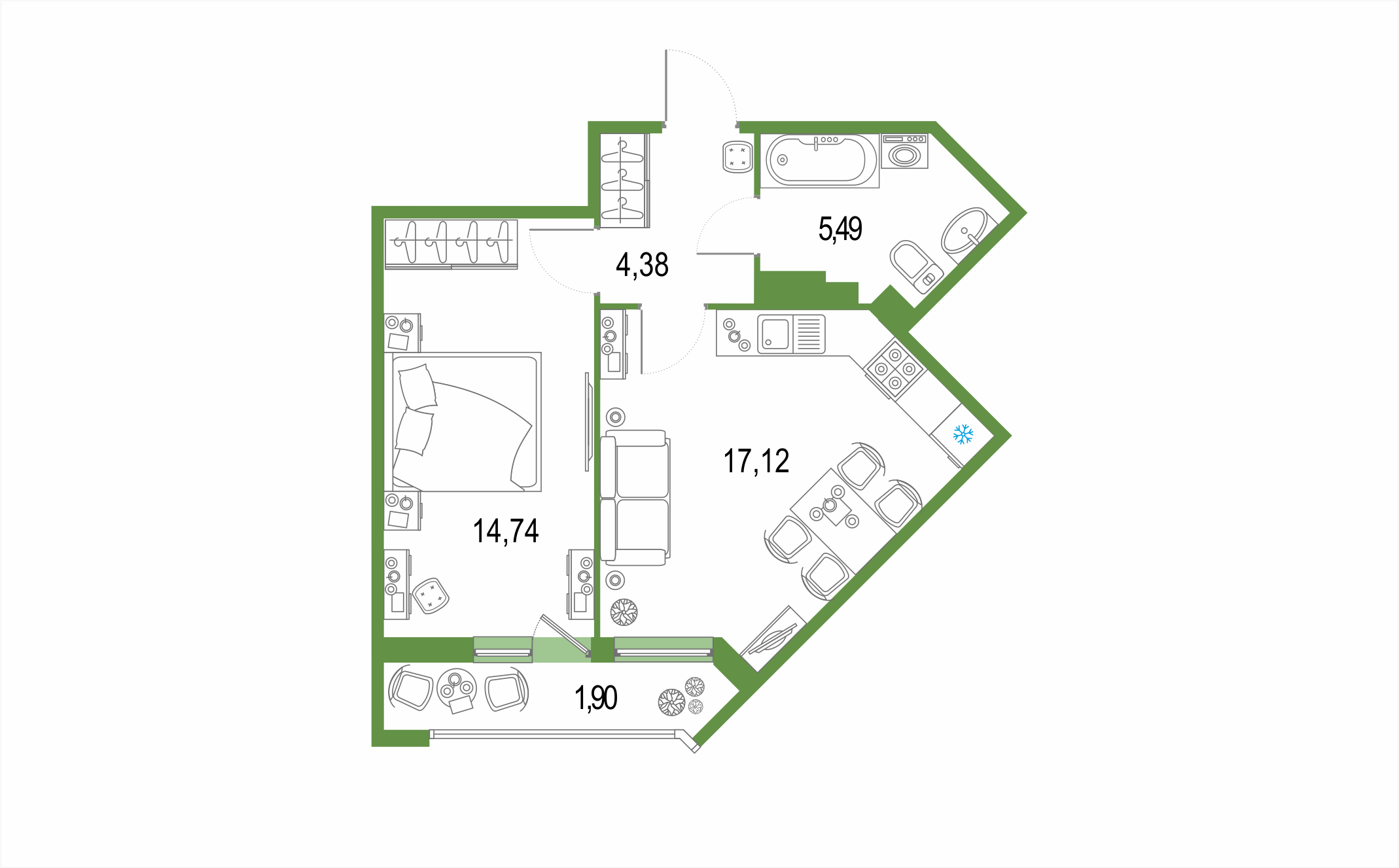 2-комнатная 45 м<sup>2</sup> на 21 этаже
