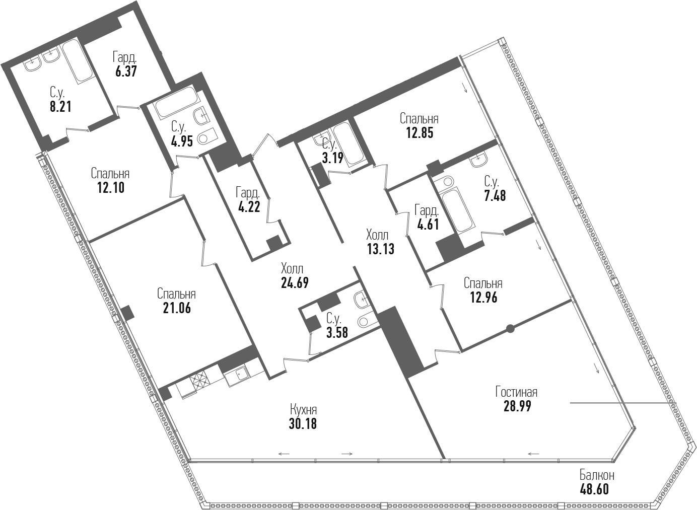 4-комнатная 247 м<sup>2</sup> на 7 этаже