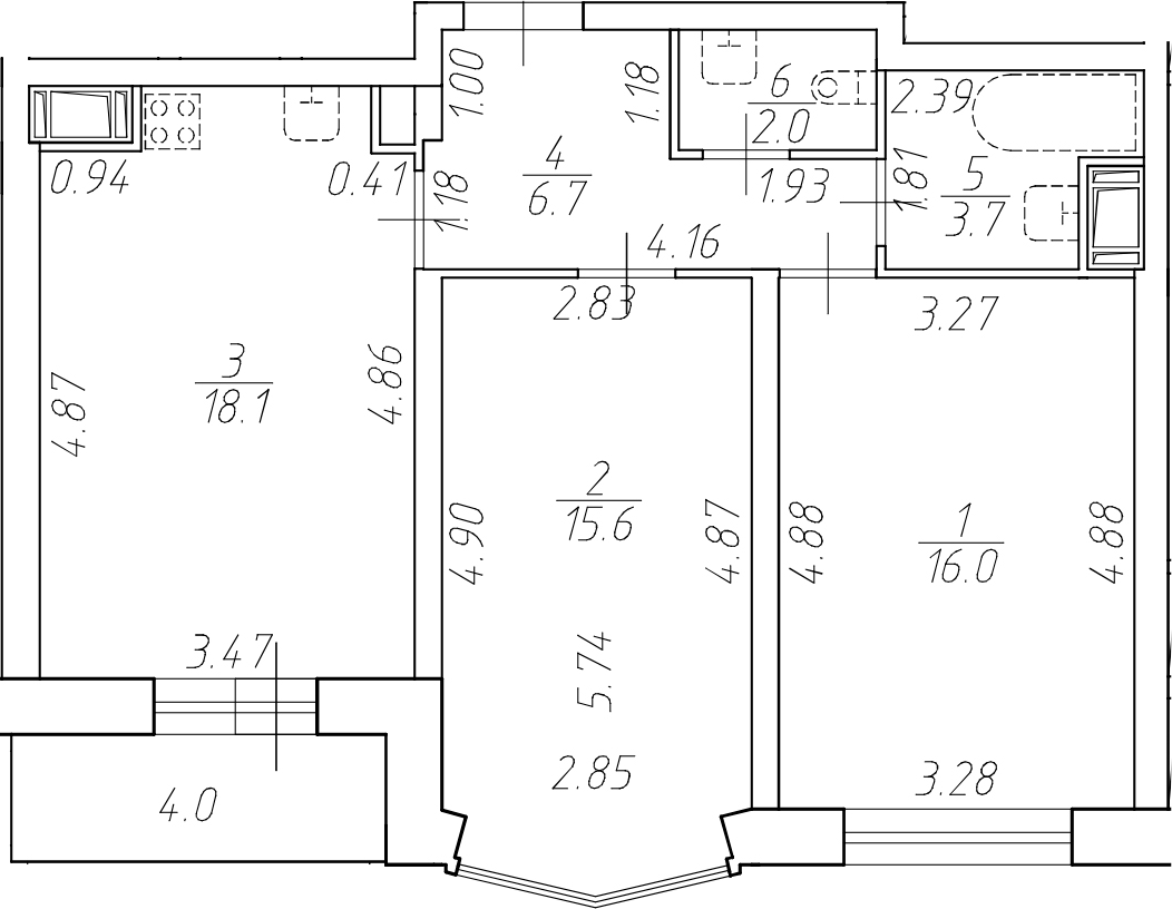 3-комнатная 66 м<sup>2</sup> на 8 этаже