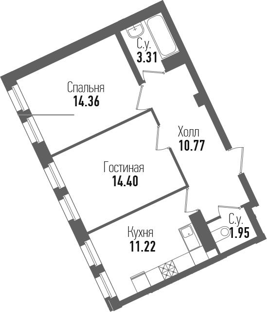 2-комнатная 56 м<sup>2</sup> на 7 этаже