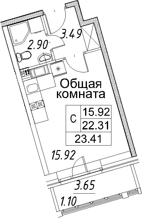 Студия, 25.98 м²