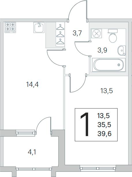 1-комнатная 39 м<sup>2</sup> на 4 этаже
