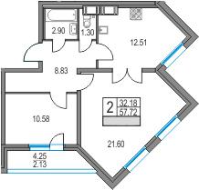 2-комнатная 61 м<sup>2</sup> на 3 этаже