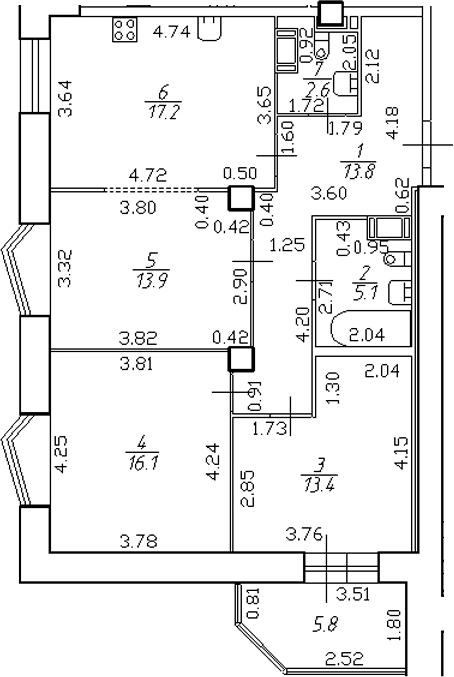 4-комнатная 87 м<sup>2</sup> на 13 этаже