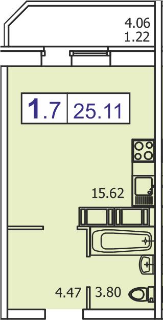 Студия, 27.96 м²