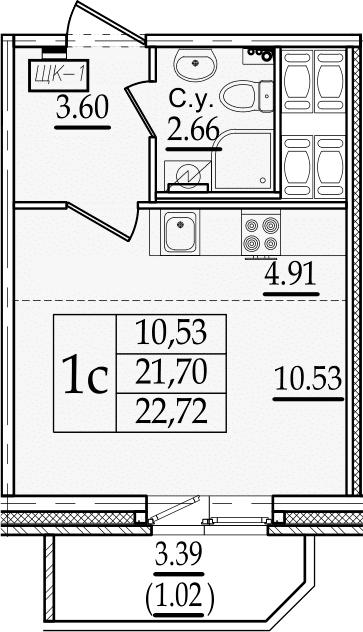 Студия 25 м<sup>2</sup> на 19 этаже
