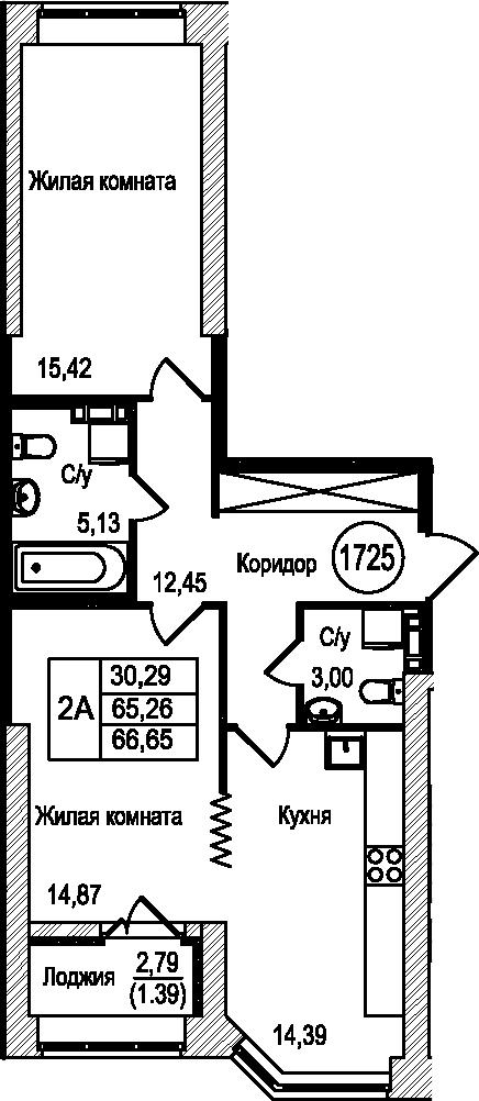 2-комнатная 68 м<sup>2</sup> на 4 этаже