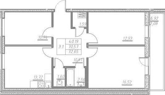 3-к.кв, 77.5 м²