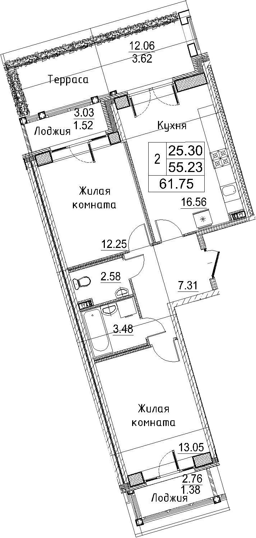 3-к.кв (евро), 73.1 м²