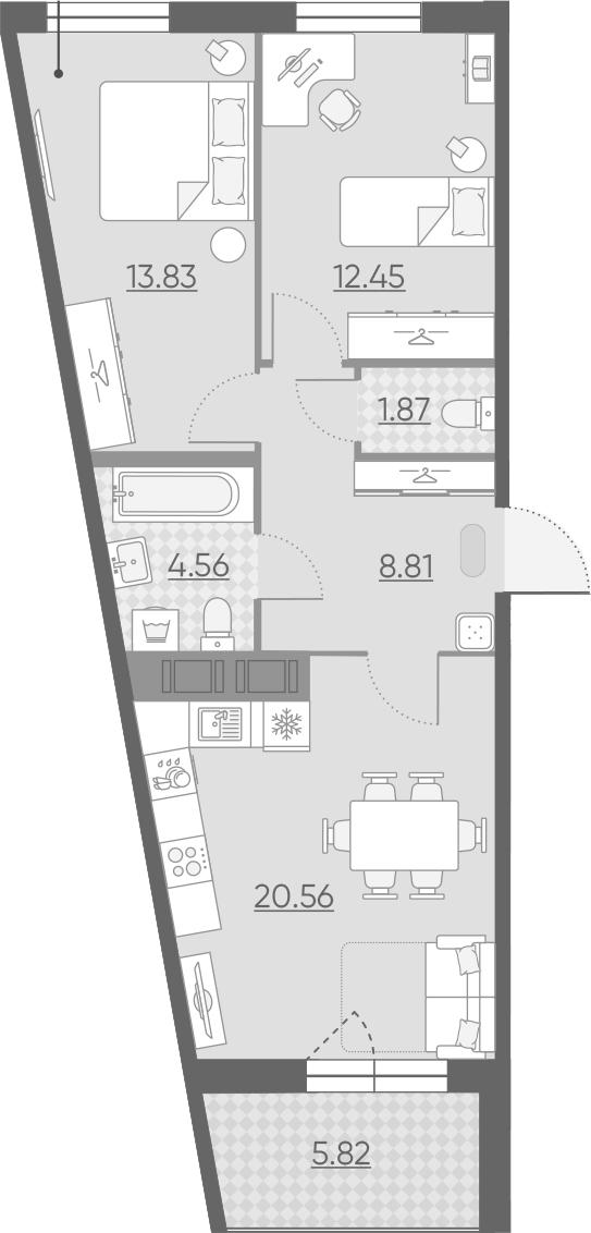 3-комнатная 67 м<sup>2</sup> на 11 этаже