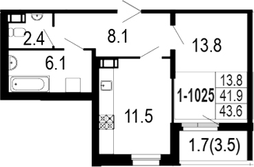 1-комнатная 45 м<sup>2</sup> на 10 этаже