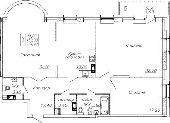 4-комнатная 136 м<sup>2</sup> на 3 этаже