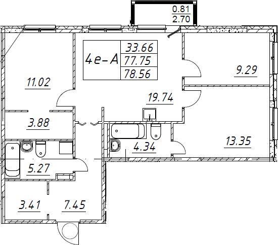 4-комнатная 80 м<sup>2</sup> на 2 этаже