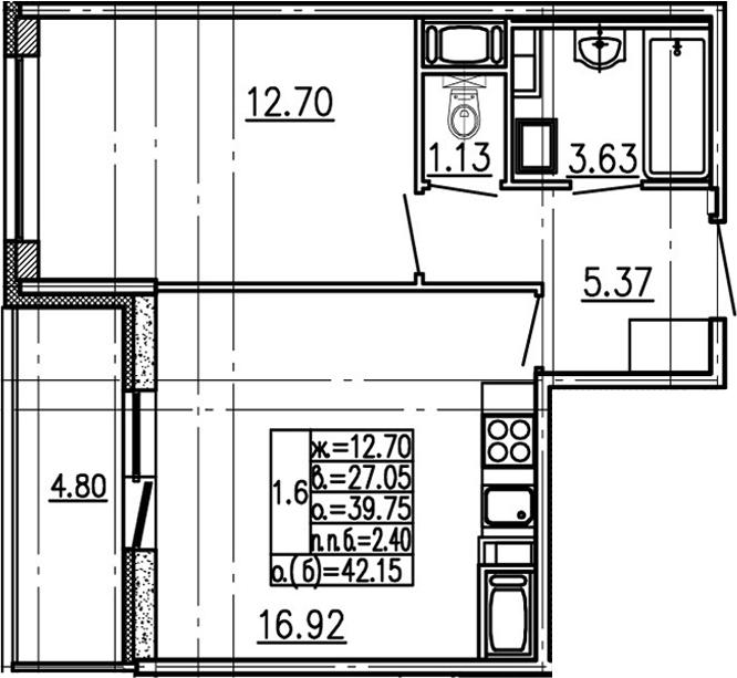 2-комнатная 44 м<sup>2</sup> на 16 этаже
