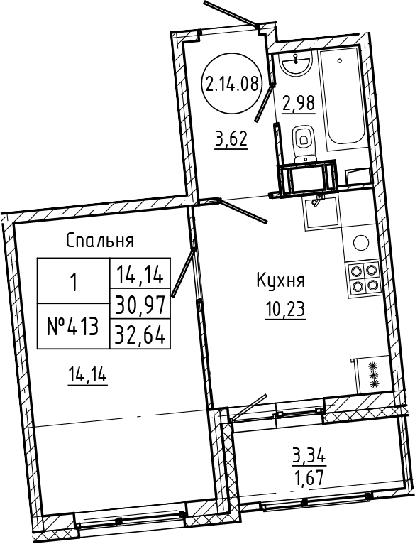1-комнатная 34 м<sup>2</sup> на 14 этаже
